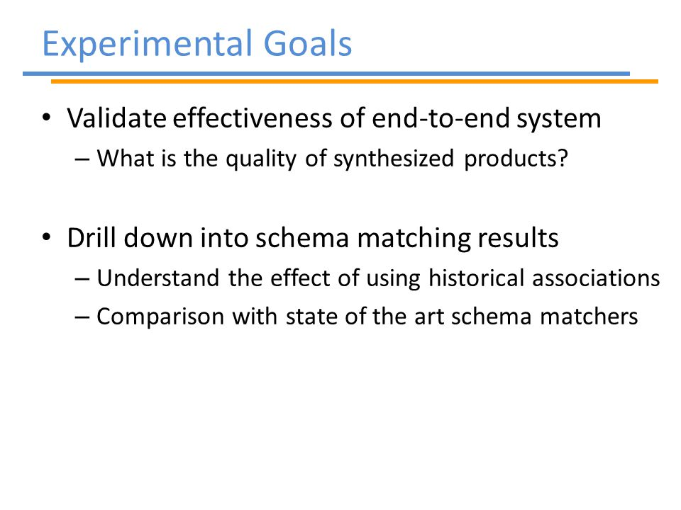 Validate effectiveness of end-to-end system – What is the quality of synthesized products.