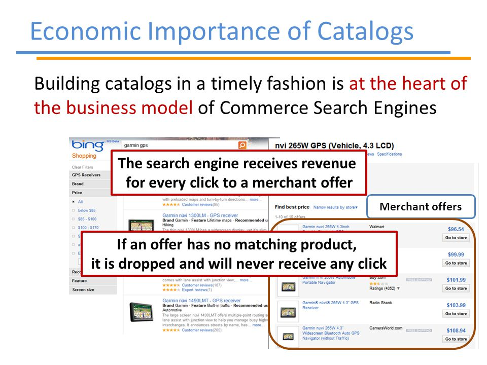 Building catalogs in a timely fashion is at the heart of the business model of Commerce Search Engines Economic Importance of Catalogs Merchant offers The search engine receives revenue for every click to a merchant offer If an offer has no matching product, it is dropped and will never receive any click