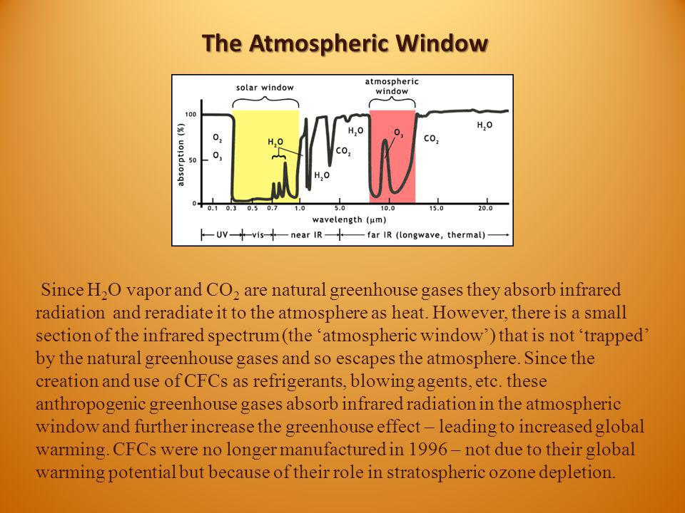 The Atmospheric Window Since H 2 O vapor and CO 2 are natural greenhouse gases they absorb infrared radiation and reradiate it to the atmosphere as he
