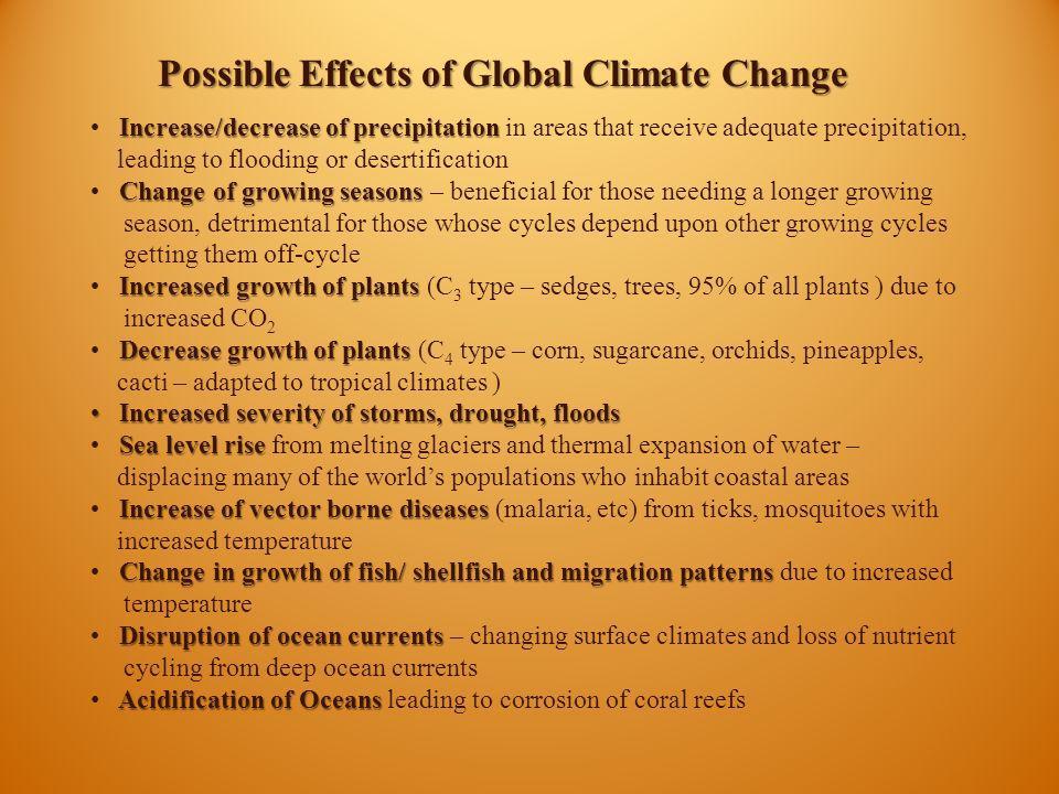 Increase/decrease of precipitation Increase/decrease of precipitation in areas that receive adequate precipitation, leading to flooding or desertifica
