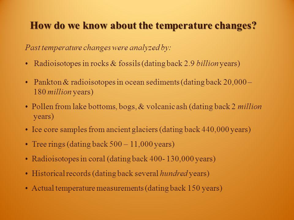 How do we know about the temperature changes? Past temperature changes were analyzed by: Radioisotopes in rocks & fossils (dating back 2.9 billion yea