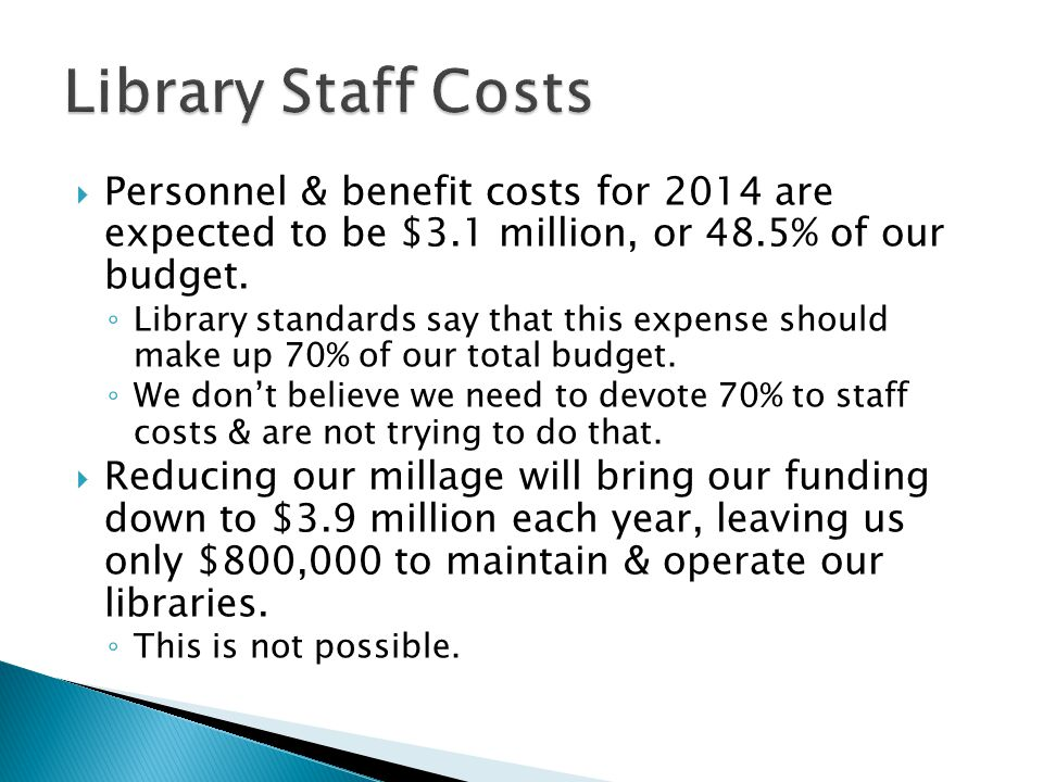 Personnel & benefit costs for 2014 are expected to be $3.1 million, or 48.5% of our budget. Library standards say that this expense should make up 70%
