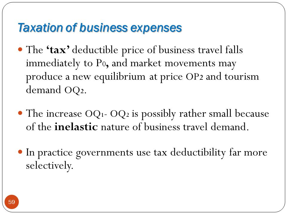 Taxation of business expenses 59 The tax deductible price of business travel falls immediately to P 0, and market movements may produce a new equilibr