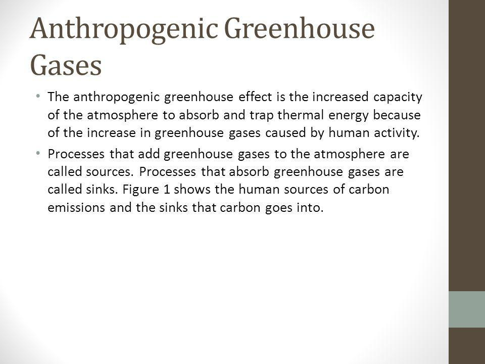 Anthropogenic Greenhouse Gases The anthropogenic greenhouse effect is the increased capacity of the atmosphere to absorb and trap thermal energy becau