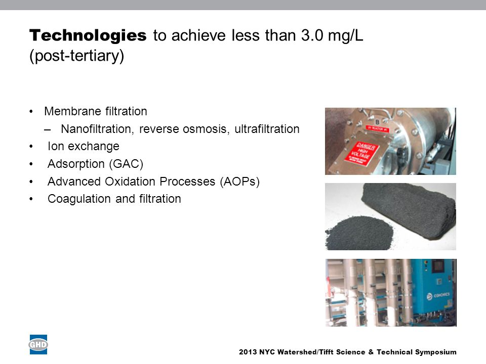2013 NYC Watershed/Tifft Science & Technical Symposium Technologies to achieve less than 3.0 mg/L (post-tertiary) Membrane filtration –Nanofiltration,