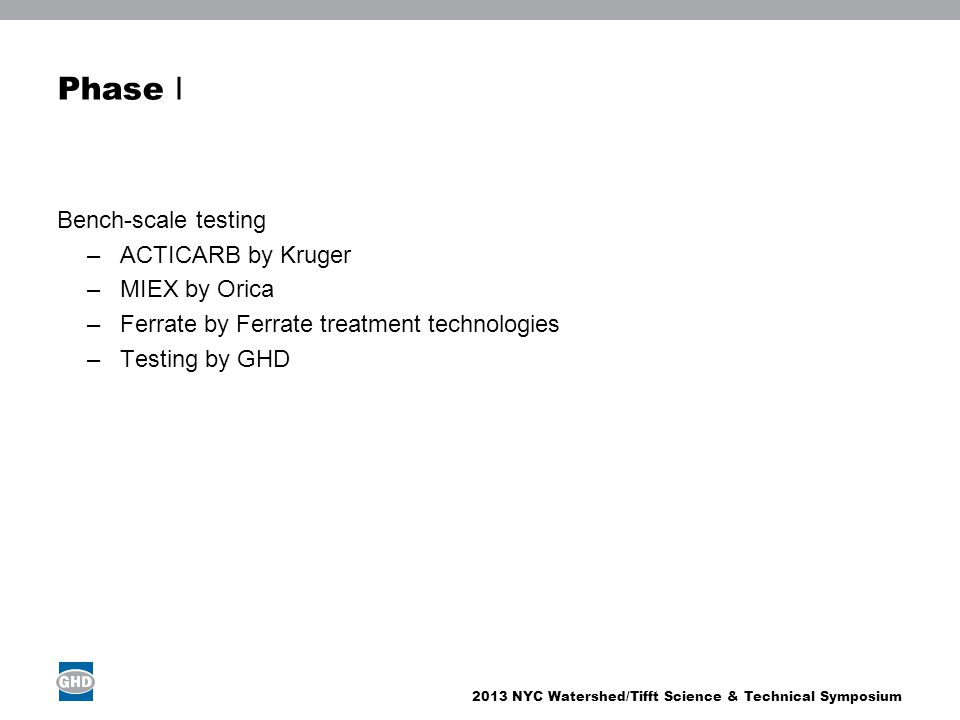 2013 NYC Watershed/Tifft Science & Technical Symposium Phase I Bench-scale testing –ACTICARB by Kruger –MIEX by Orica –Ferrate by Ferrate treatment te