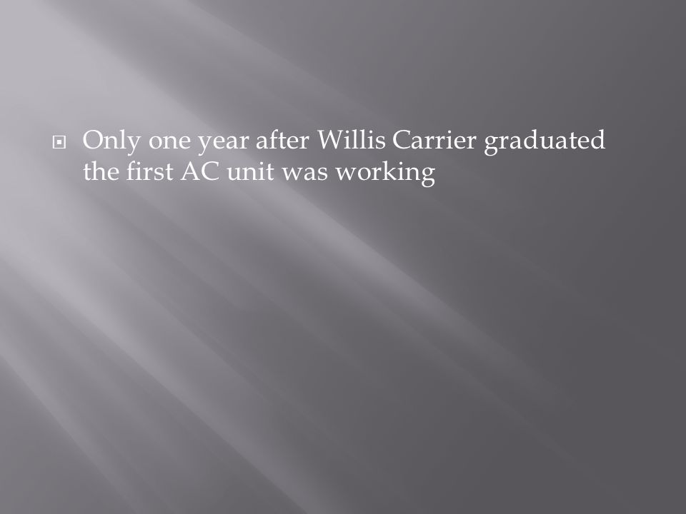 Only one year after Willis Carrier graduated the first AC unit was working
