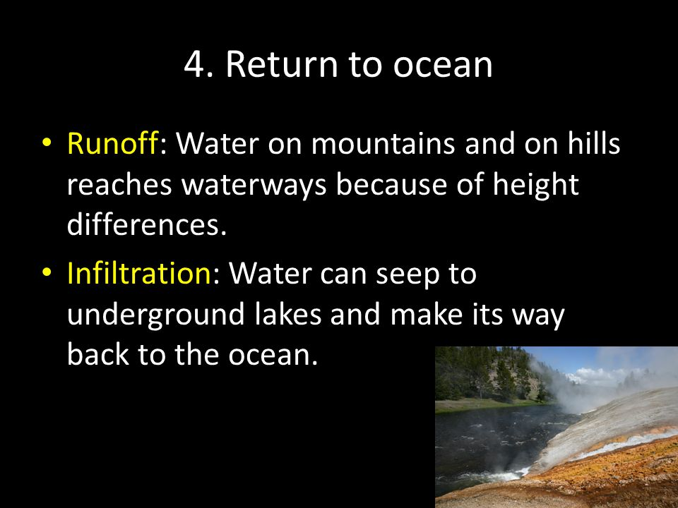 4. Return to ocean Runoff: Water on mountains and on hills reaches waterways because of height differences. Infiltration: Water can seep to undergroun