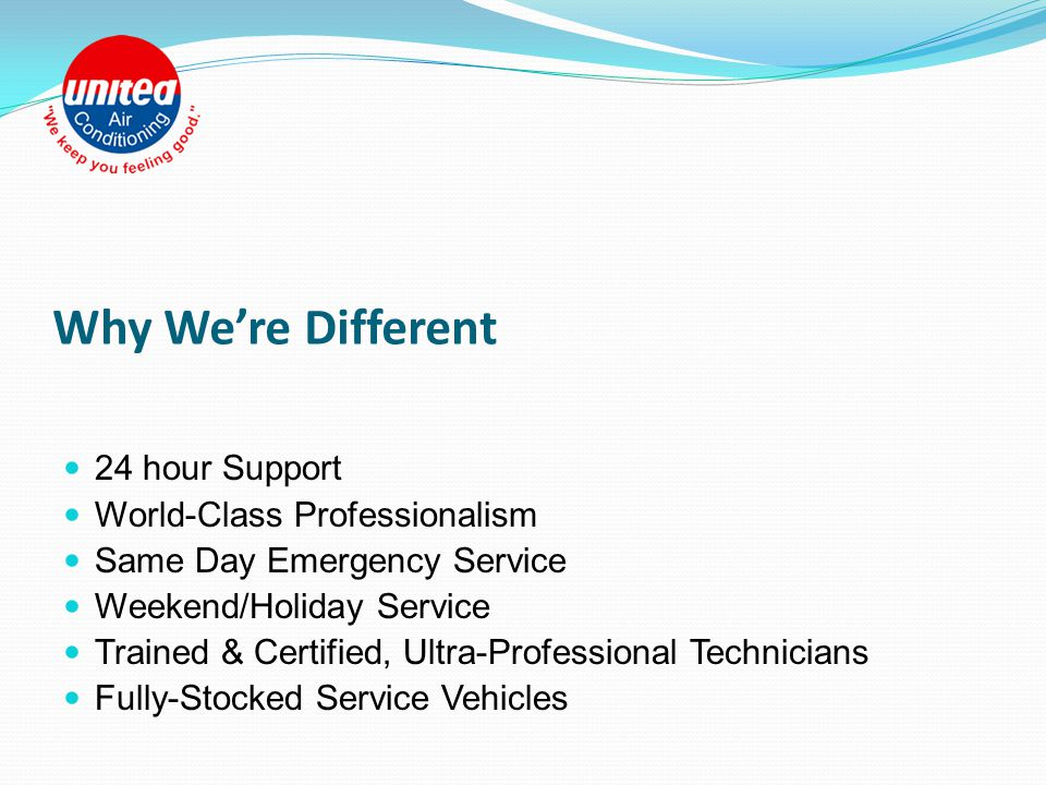 Over 50 Years of Regional Service and World-Class Quality United Air Conditioning is a client-focused, family-owned air conditioning company serving the greater-Tampa Bay area.