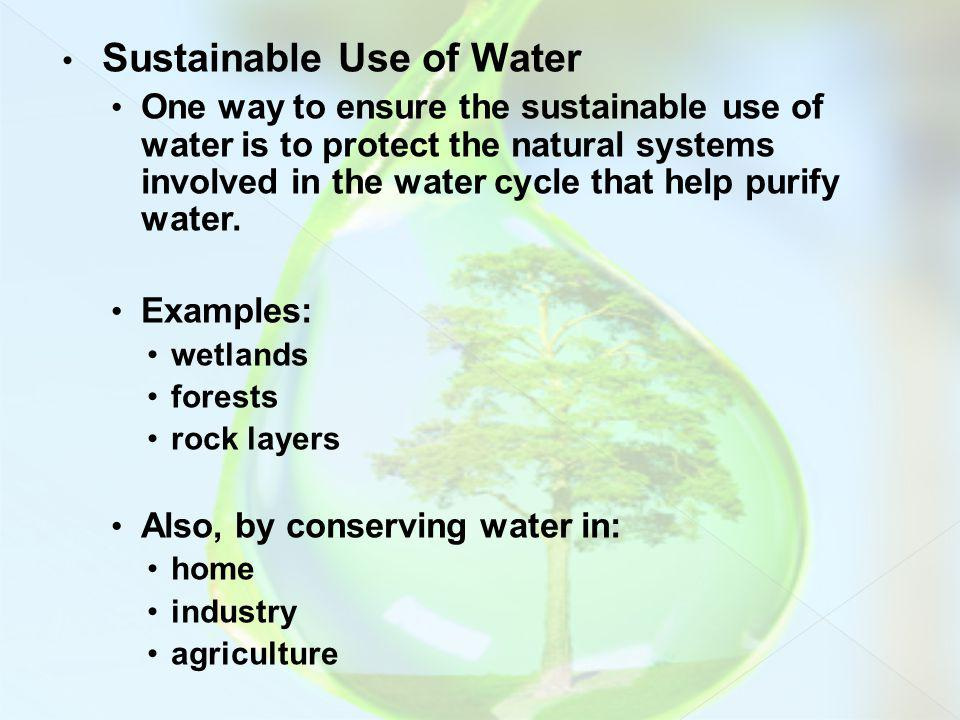 Sustainable Use of Water One way to ensure the sustainable use of water is to protect the natural systems involved in the water cycle that help purify