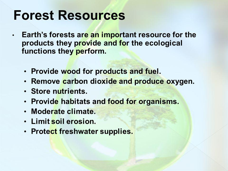 Earths forests are an important resource for the products they provide and for the ecological functions they perform. Provide wood for products and fu
