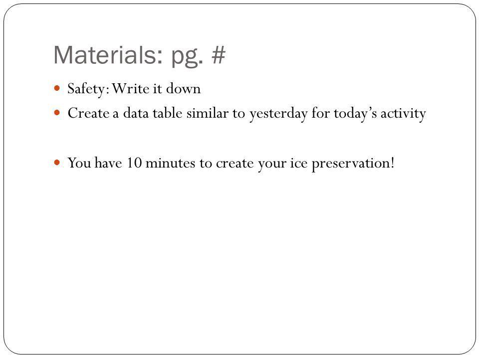 Materials: pg.