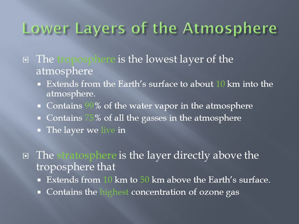 The troposphere is the lowest layer of the atmosphere Extends from the Earths surface to about 10 km into the atmosphere. Contains 99% of the water va