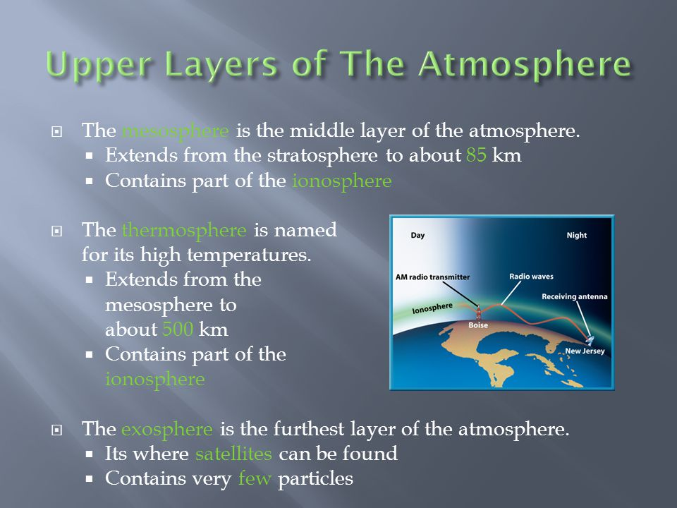 The mesosphere is the middle layer of the atmosphere. Extends from the stratosphere to about 85 km Contains part of the ionosphere The thermosphere is
