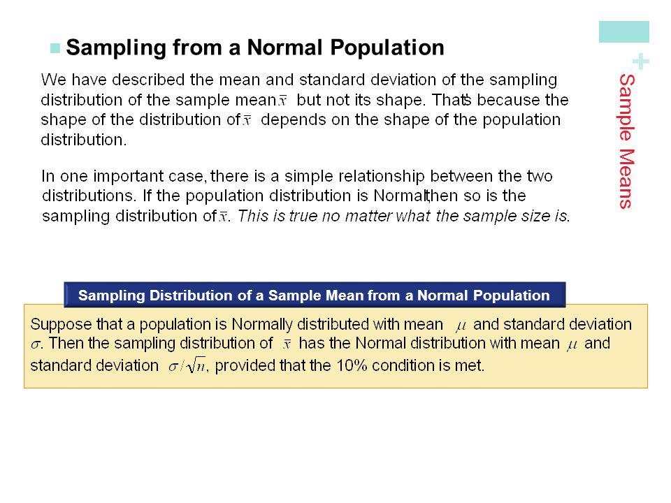 + Sampling from a Normal Population Sampling Distribution of a Sample Mean from a Normal Population