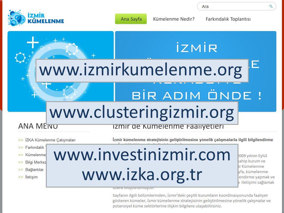 www.izmirkumelenme.org www.clusteringizmir.org www.investinizmir.com www.izka.org.tr