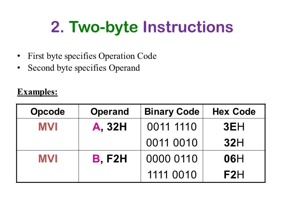2. Two-byte Instructions First byte specifies Operation Code Second byte specifies Operand Examples: OpcodeOperandBinary CodeHex Code MVIA, 32H0011 11