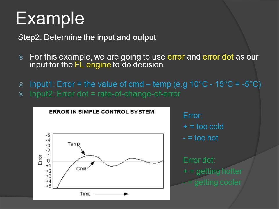 Example Step2: Determine the input and output For this example, we are going to use error and error dot as our input for the FL engine to do decision.