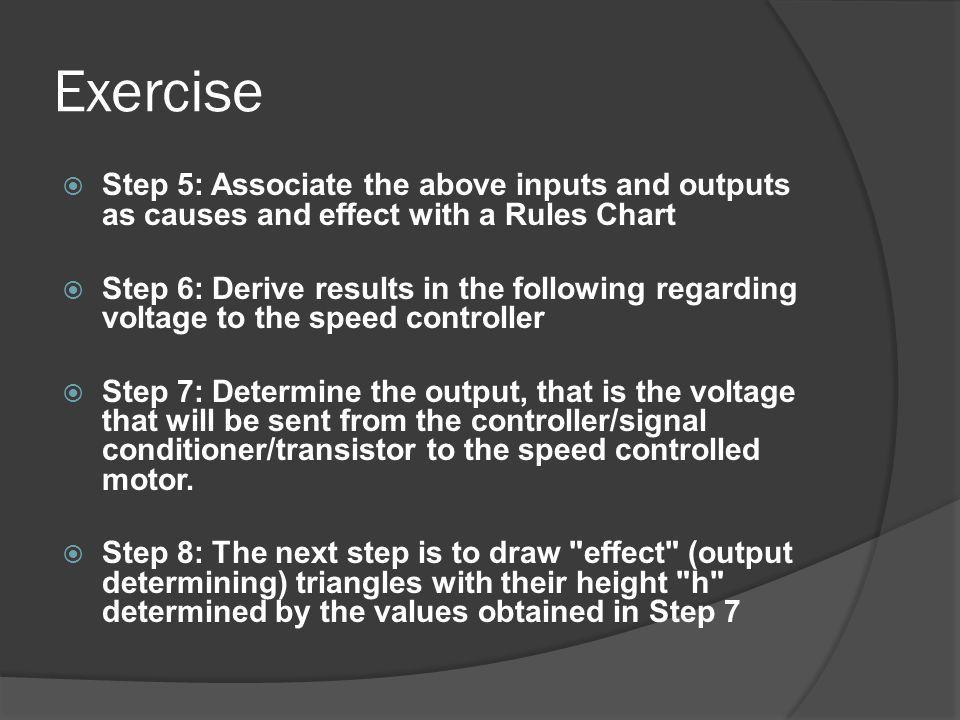 Exercise Step 5: Associate the above inputs and outputs as causes and effect with a Rules Chart Step 6: Derive results in the following regarding volt