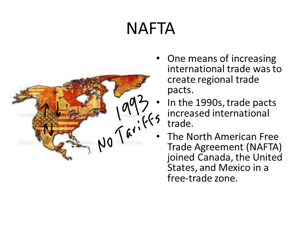 NAFTA One means of increasing international trade was to create regional trade pacts.