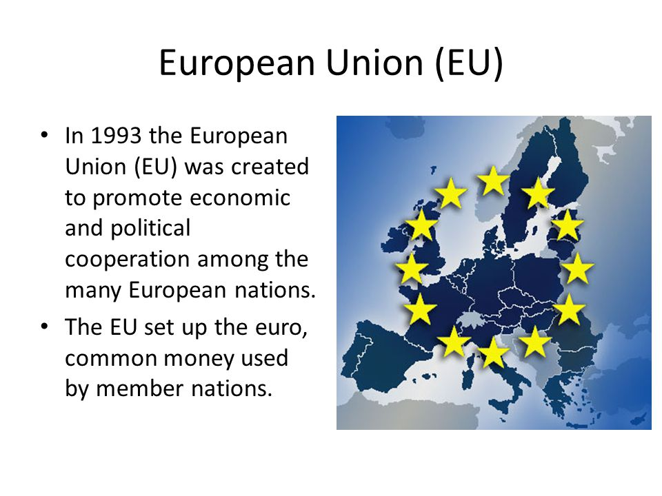 European Union (EU) In 1993 the European Union (EU) was created to promote economic and political cooperation among the many European nations.