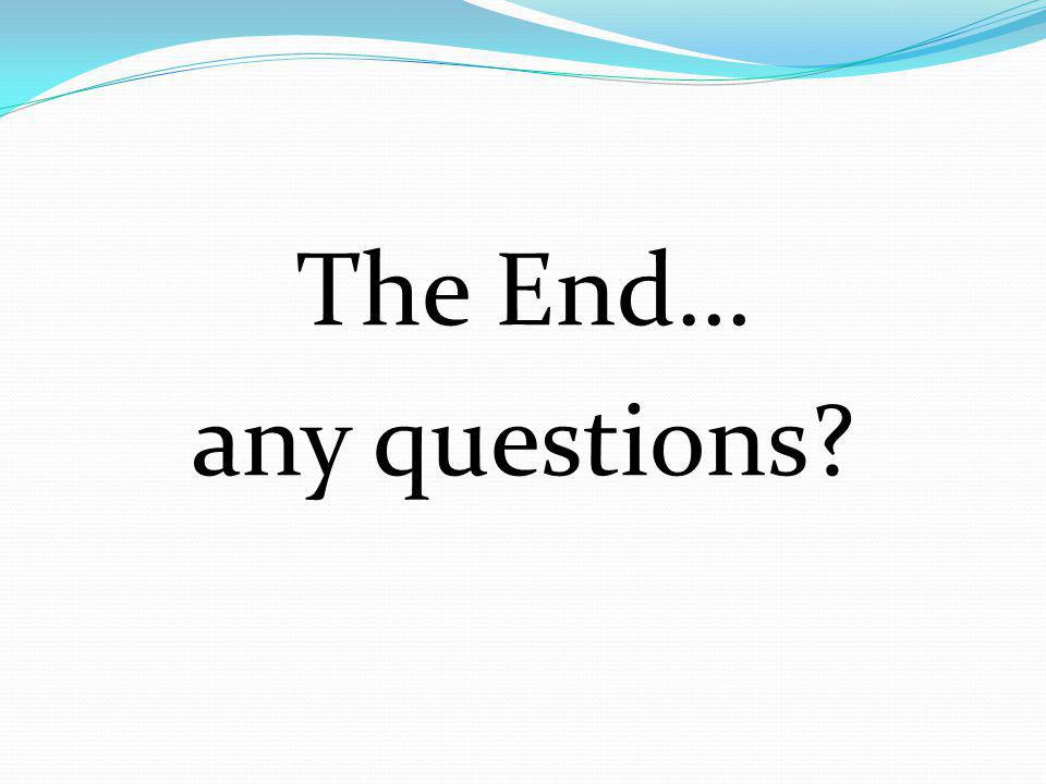 The End… any questions?