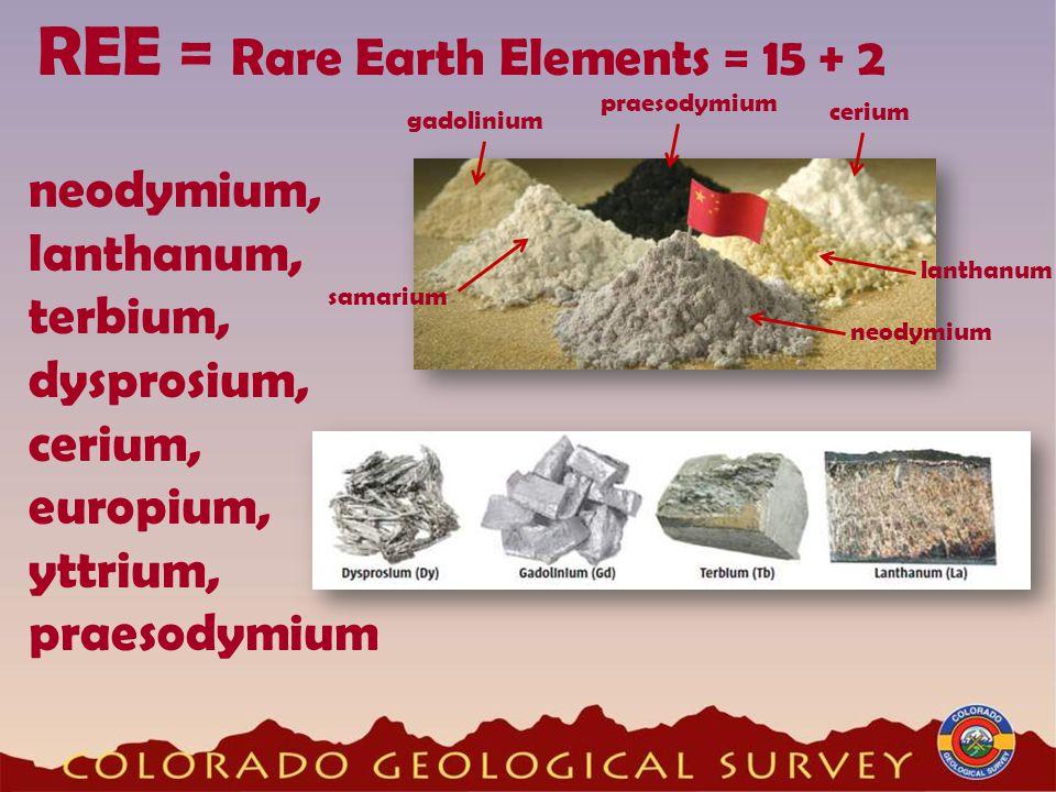 REE = Rare Earth Elements = 15 + 2 neodymium, lanthanum, terbium, dysprosium, cerium, europium, yttrium, praesodymium cerium lanthanum neodymium samar