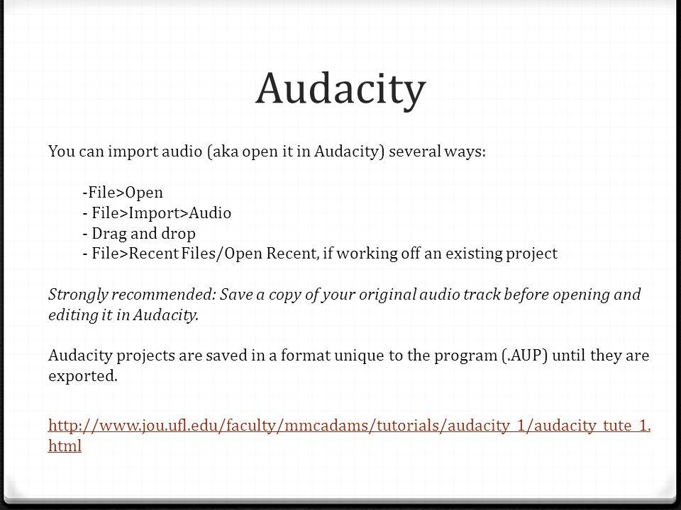 Audacity http://www.jou.ufl.edu/faculty/mmcadams/tutorials/audacity_1/audacity_tute_1. html You can import audio (aka open it in Audacity) several way