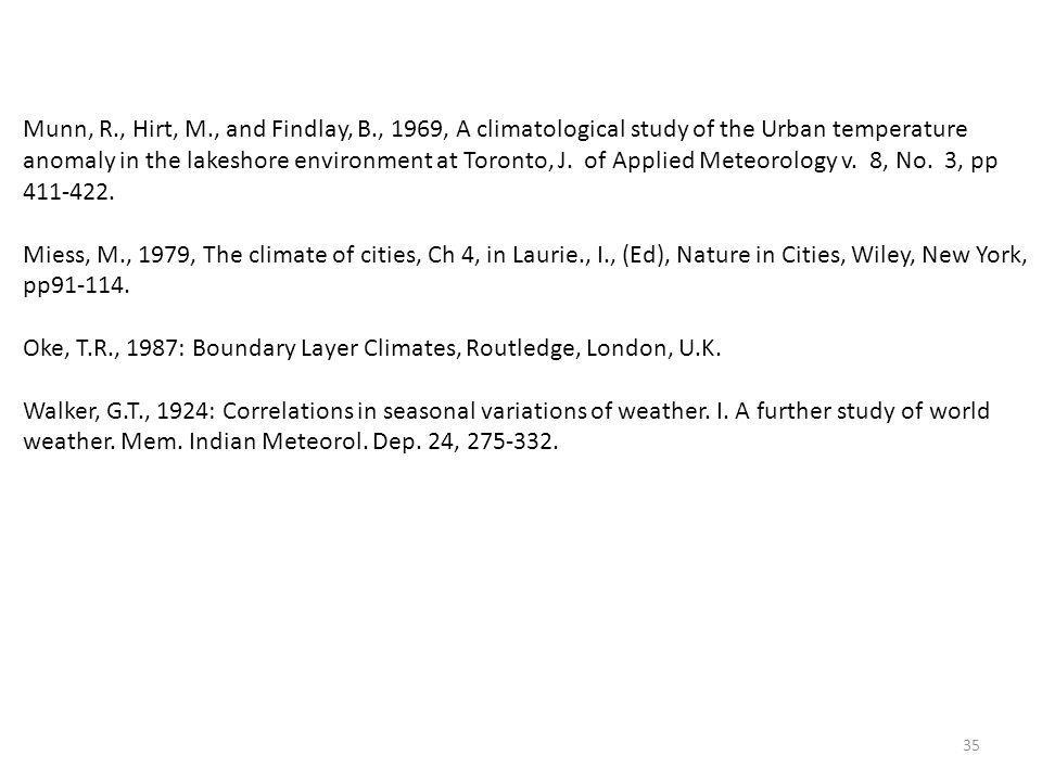 35 Munn, R., Hirt, M., and Findlay, B., 1969, A climatological study of the Urban temperature anomaly in the lakeshore environment at Toronto, J. of A