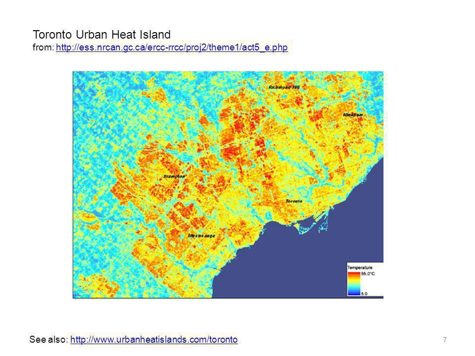 Toronto Urban Heat Island from: http://ess.nrcan.gc.ca/ercc-rrcc/proj2/theme1/act5_e.phphttp://ess.nrcan.gc.ca/ercc-rrcc/proj2/theme1/act5_e.php 7 See also: http://www.urbanheatislands.com/torontohttp://www.urbanheatislands.com/toronto