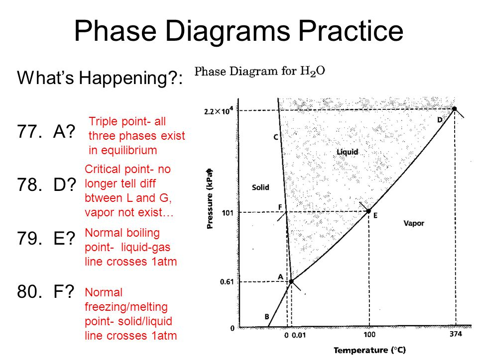 Phase Diagrams Practice Whats Happening?: 77. A? 78. D? 79. E? 80. F? Triple point- all three phases exist in equilibrium Critical point- no longer te