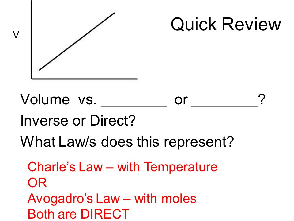 Quick Review Volume vs. ________ or ________? Inverse or Direct? What Law/s does this represent? V Charles Law – with Temperature OR Avogadros Law – w