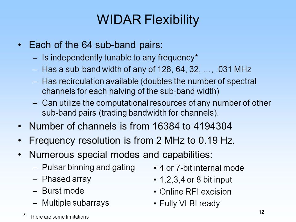 12 WIDAR Flexibility Each of the 64 sub-band pairs: –Is independently tunable to any frequency* –Has a sub-band width of any of 128, 64, 32, …,.031 MH