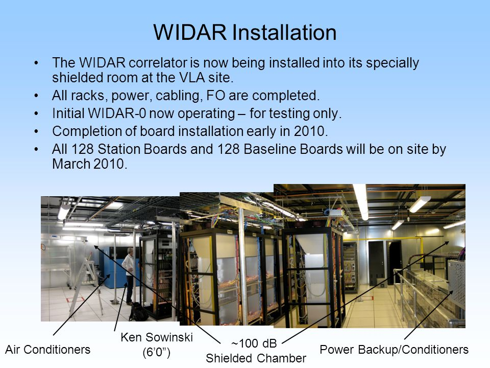 WIDAR Installation The WIDAR correlator is now being installed into its specially shielded room at the VLA site. All racks, power, cabling, FO are com