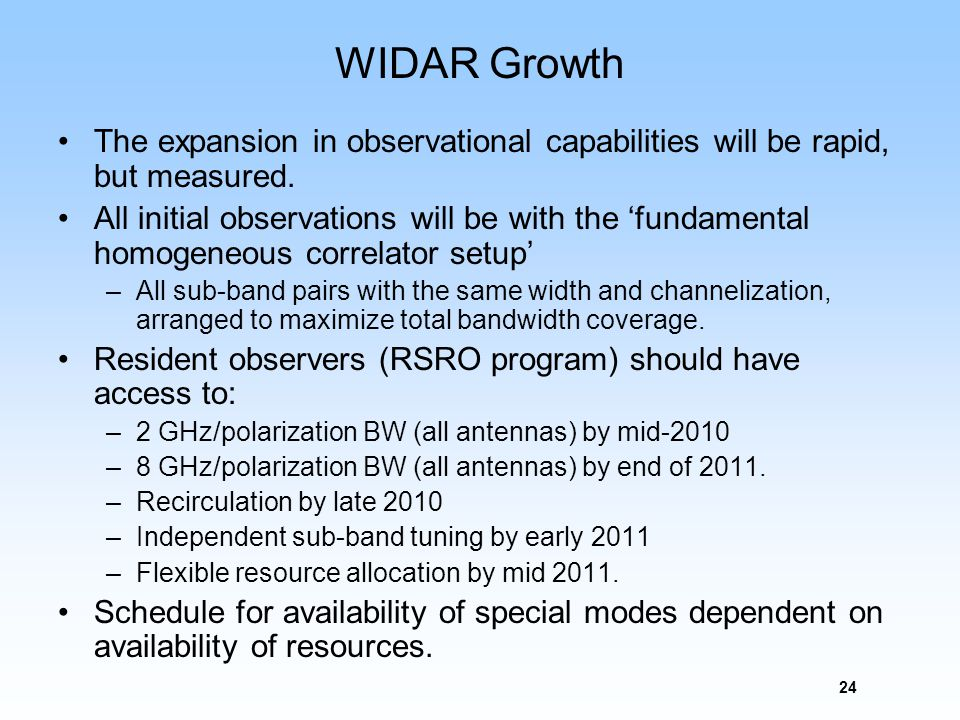 24 WIDAR Growth The expansion in observational capabilities will be rapid, but measured. All initial observations will be with the fundamental homogen