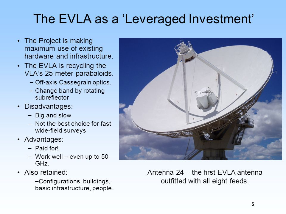 5 The EVLA as a Leveraged Investment The Project is making maximum use of existing hardware and infrastructure. The EVLA is recycling the VLAs 25-mete