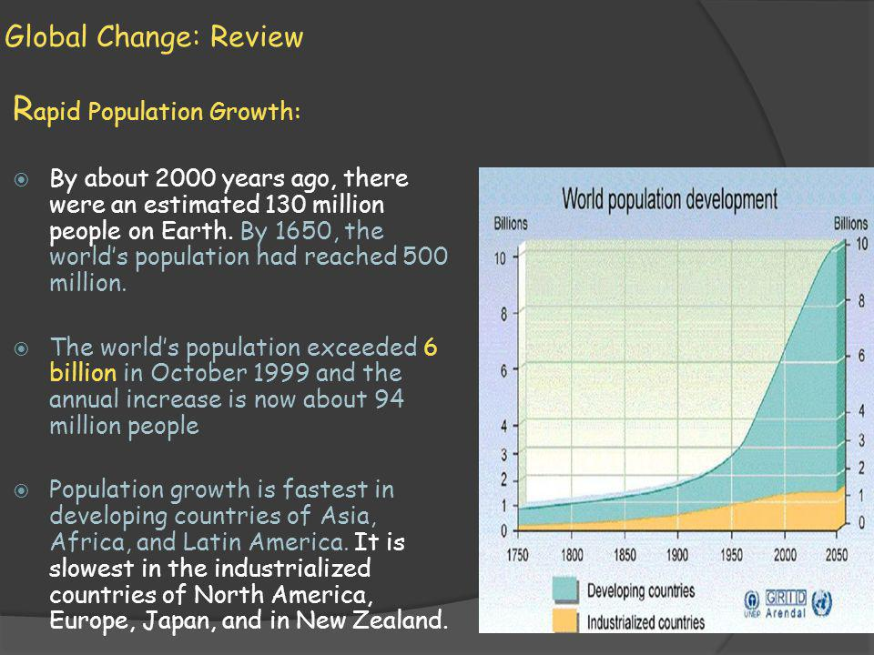 Global Change: Review R apid Population Growth: By about 2000 years ago, there were an estimated 130 million people on Earth.