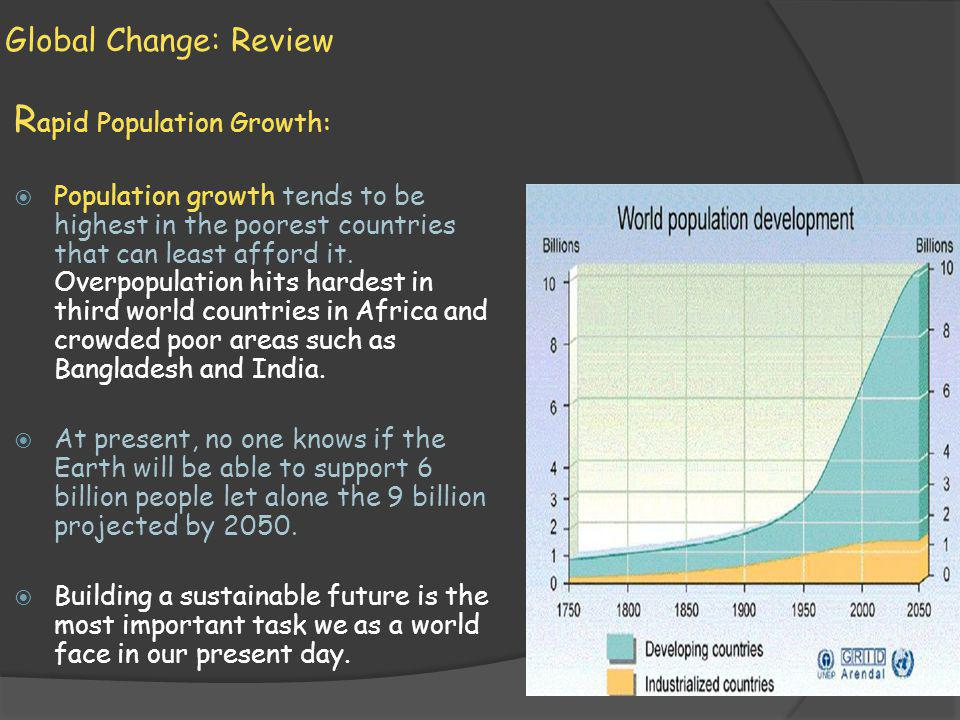 Global Change: Review R apid Population Growth: Population growth tends to be highest in the poorest countries that can least afford it. Overpopulatio
