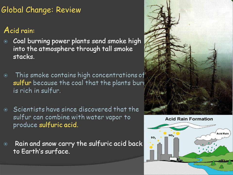 Global Change: Review A cid rain: Coal burning power plants send smoke high into the atmosphere through tall smoke stacks.