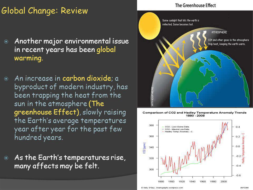 Global Change: Review Another major environmental issue in recent years has been global warming.