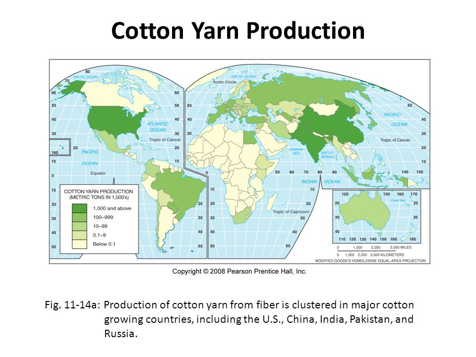 Cotton Yarn Production Fig. 11-14a: Production of cotton yarn from fiber is clustered in major cotton growing countries, including the U.S., China, In