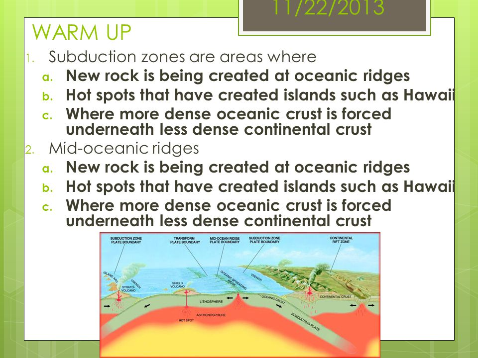 11/22/2013 WARM UP 1. Subduction zones are areas where a. New rock is being created at oceanic ridges b. Hot spots that have created islands such as H