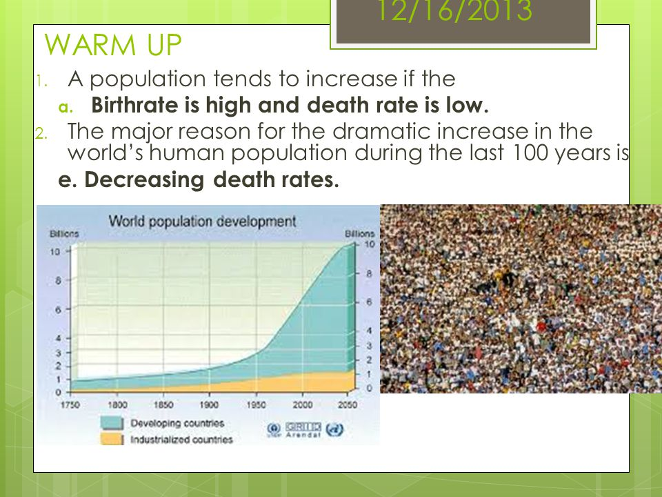 12/16/2013 WARM UP 1. A population tends to increase if the a. Birthrate is high and death rate is low. 2. The major reason for the dramatic increase