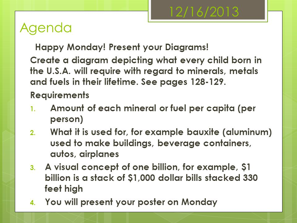 12/16/2013 Agenda Happy Monday! Present your Diagrams! Create a diagram depicting what every child born in the U.S.A. will require with regard to mine