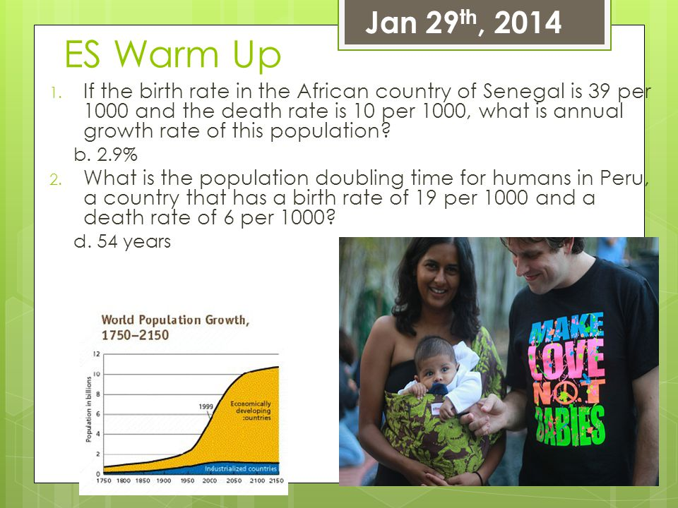 ES Warm Up 1. If the birth rate in the African country of Senegal is 39 per 1000 and the death rate is 10 per 1000, what is annual growth rate of this