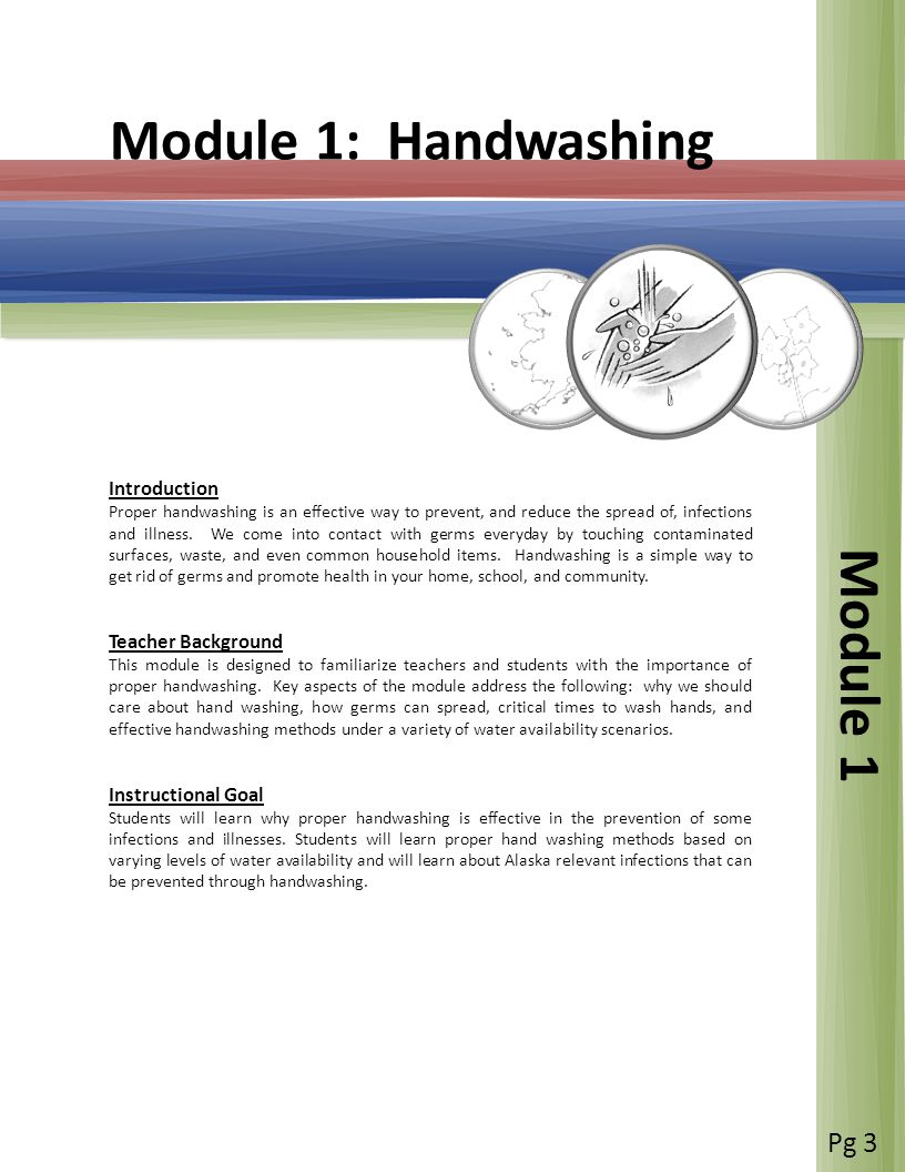 Module 1: Handwashing Module 1 Introduction Proper handwashing is an effective way to prevent, and reduce the spread of, infections and illness.