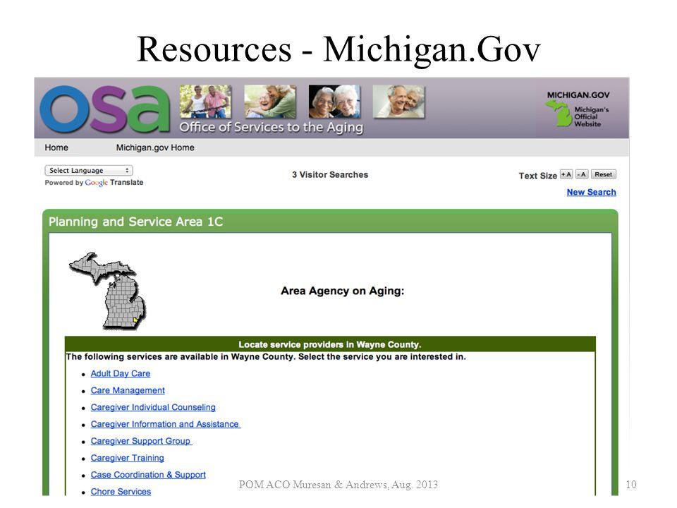 Resources - Michigan.Gov POM ACO Muresan & Andrews, Aug. 201310