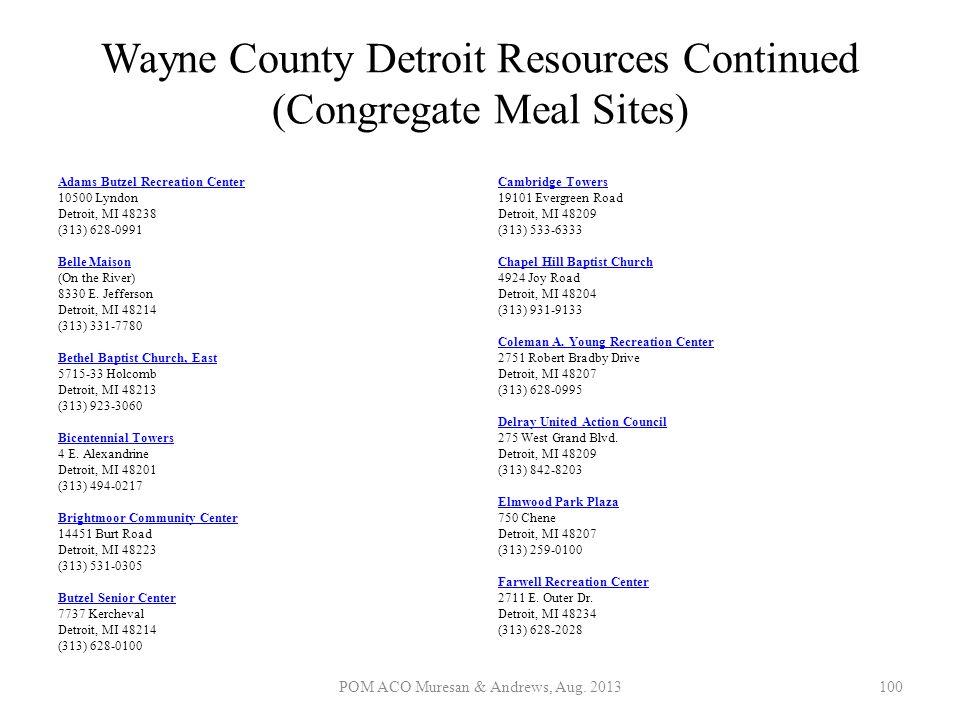 Wayne County Detroit Resources Continued (Congregate Meal Sites) Adams Butzel Recreation Center Adams Butzel Recreation Center 10500 Lyndon Detroit, M