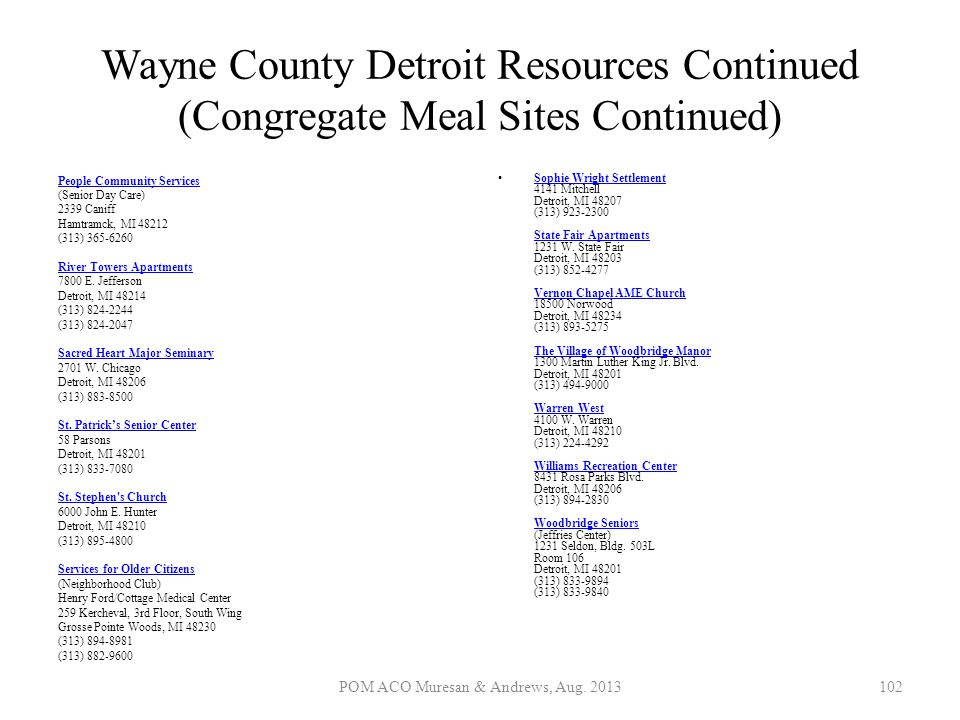 Wayne County Detroit Resources Continued (Congregate Meal Sites Continued) People Community Services People Community Services (Senior Day Care) 2339