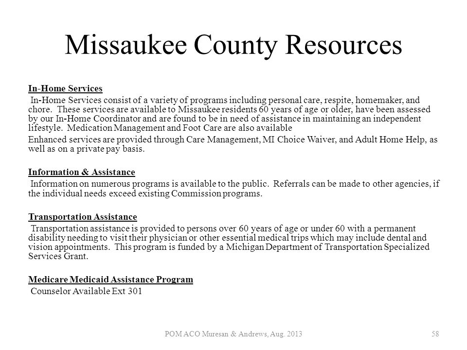Missaukee County Resources In-Home Services In-Home Services consist of a variety of programs including personal care, respite, homemaker, and chore.